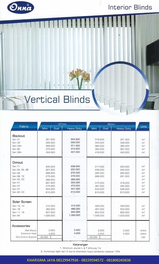 Harga Vertical Blinds Onna