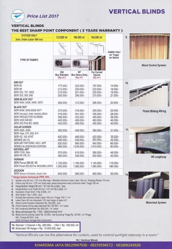 Harga Vertical Blinds Sharp Points